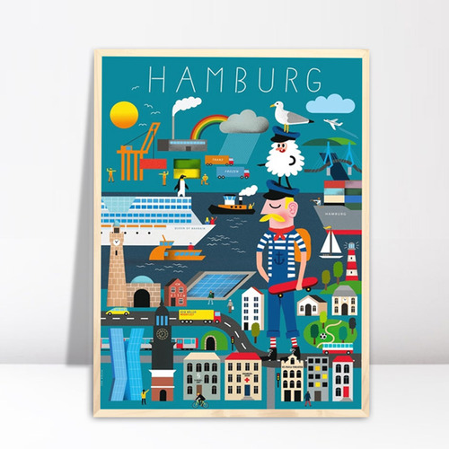 hamburg erkl rbuch poster travel poster. Black Bedroom Furniture Sets. Home Design Ideas